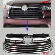 Chrome Stainless steel Grill Grilles cover trims for 2014 -2016 Toyota Highlander