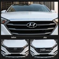 chrome front Bonnet Hood trim cover withlogo for 2015-2016 Hyundai Tucson