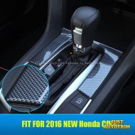 Black Carbon fiber look center gear Switch panel cover trim for 2016 Honda Civic